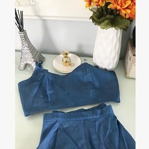 Lulu's Blue chambray two piece crop and skirt.